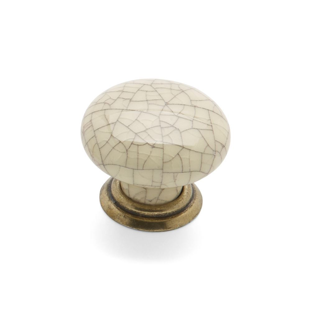 WINCHESTER, Round Knob & Back Plate, Pewter / Cream Crackle