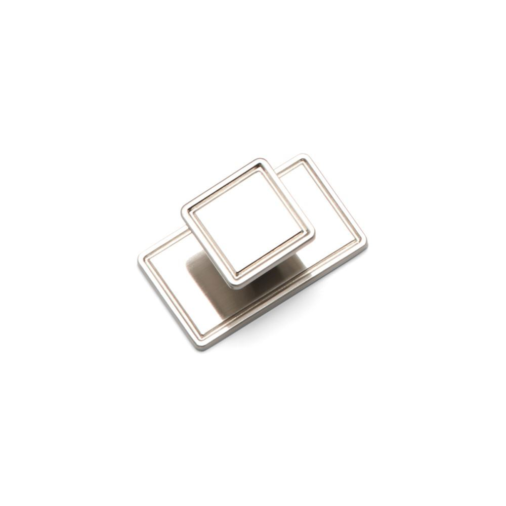 WINDSOR, Square Knob & Backplate, Brushed Nickel