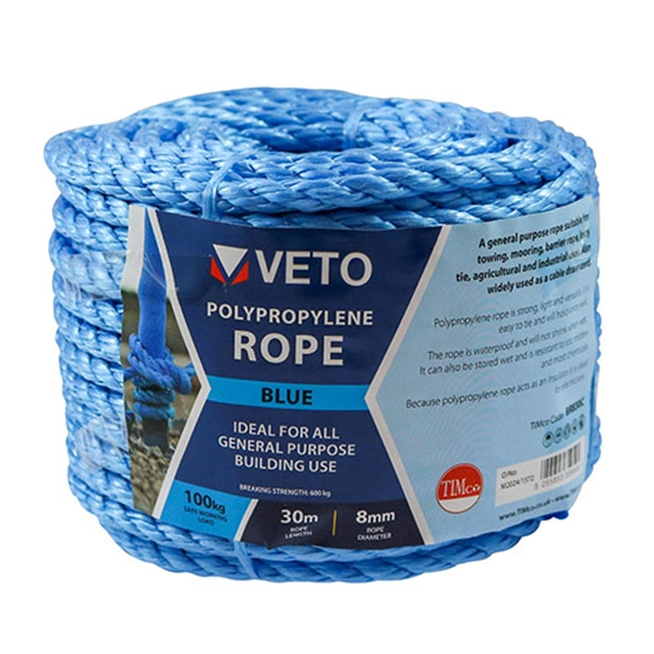 12mm x 30m Blue Poly Rope - Coil (1 Unit)
