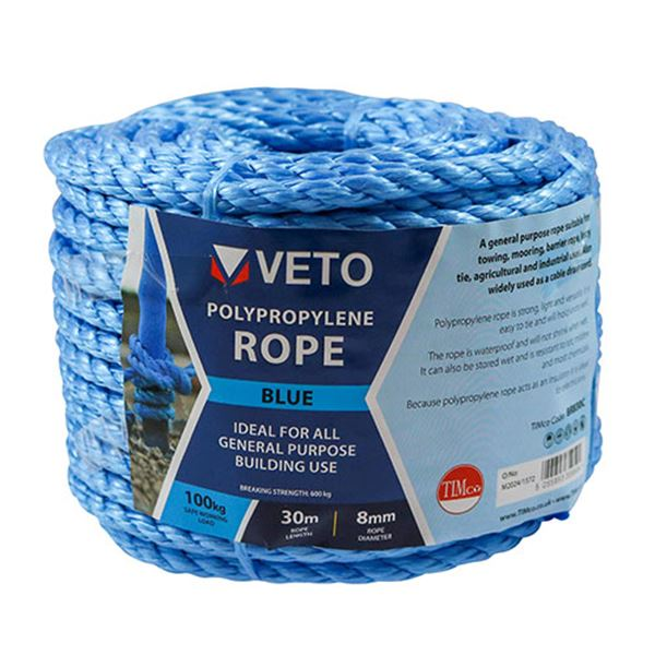 6mm x 30m Blue Poly Rope - Coil (1 Unit)